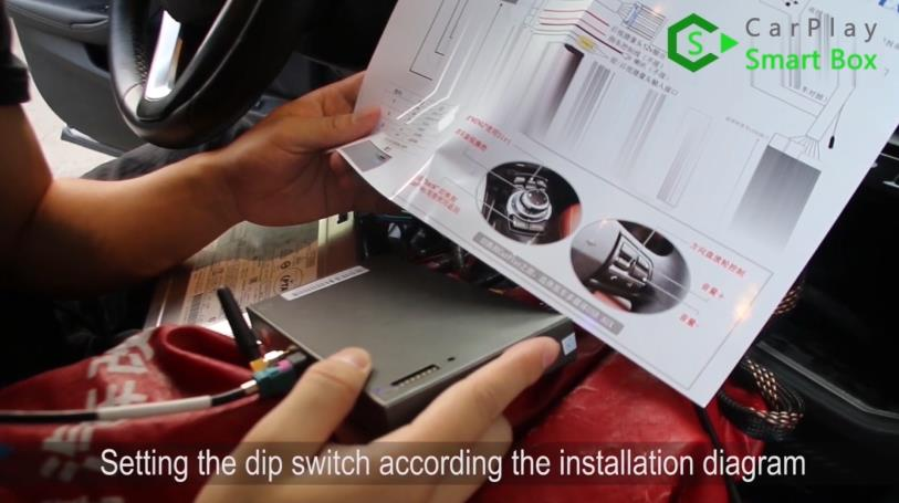 11. Setting the dip switch according the installation diagram - Step by Step Retrofit JoyeAuto wireless CarPlay on BMW 528Li G38 EVO Head Unit - CarPlay Smart Box