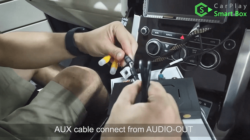 12.AUX cable connect from AUDIO-OUT.