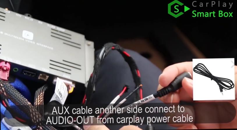 12. AUX cable another side connect to AUDIO-OUT from CarPlay power cable - How to install WiFi Wireless Apple CarPlay on BMW F30 NBT EVO Head Unit - CarPlay Smar