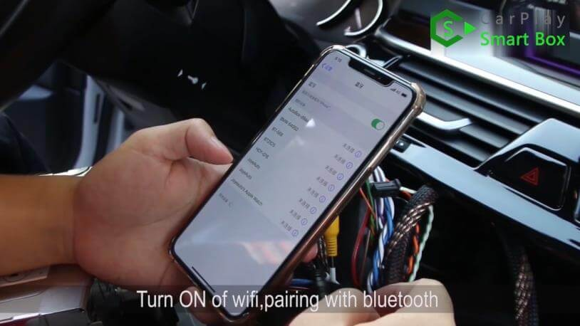 12. Turn on of WiFi, pairing with Bluetooth - Step by Step Retrofit JoyeAuto wireless CarPlay on BMW 528Li G38 EVO Head Unit - CarPlay Smart Box
