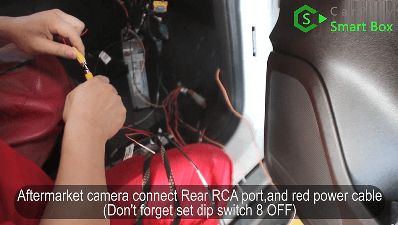 13.Aftermarket camera connect Rear RCA port, and red power cable.Don't forget set dip switch 8 off.