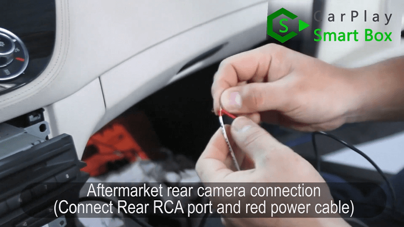 14.Aftermark rear camera connection (Connect Rear RCA port and red power cable).
