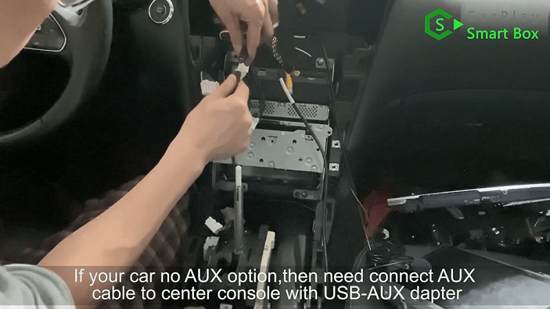 14.If your car no AUX option, then need connect AUX cable to center console with USB-AUX adapter.