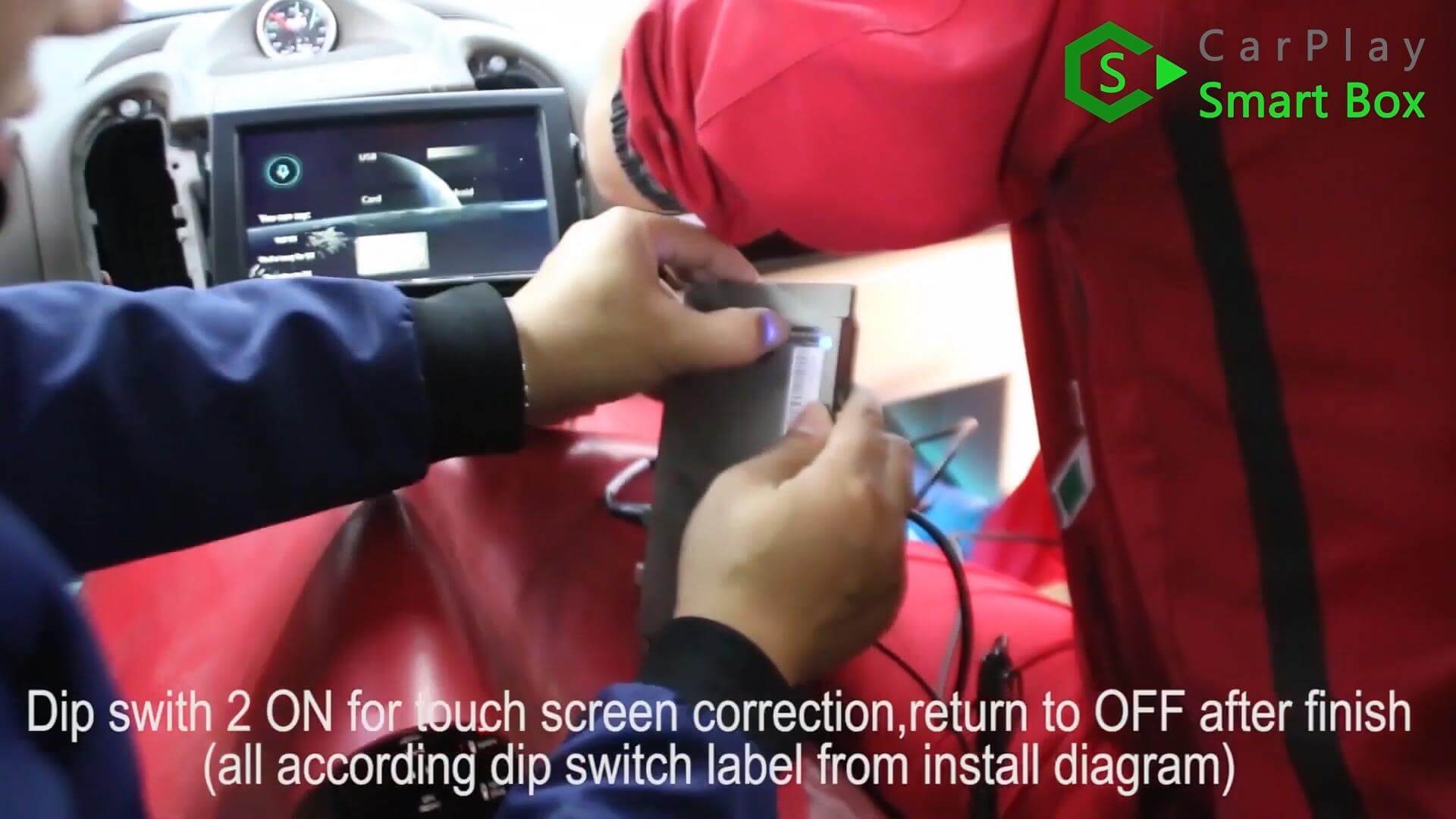 14. Dip switch 2 ON for touch screen correction, return to OFF after finished (all according dip switch lable from install diagram) -  Step by Step Retrofit Porsche Cayenne PCM3.1 WIFI Wireless Apple CarPlay -