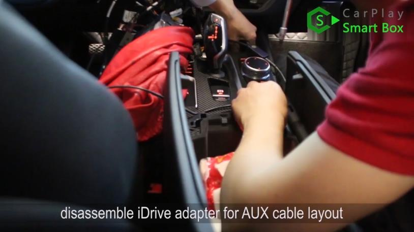 14. Disassemble iDrive adapter for AUX cable layout - Step by Step Retrofit JoyeAuto wireless CarPlay on BMW 528Li G38 EVO Head Unit - CarPlay Smart Box