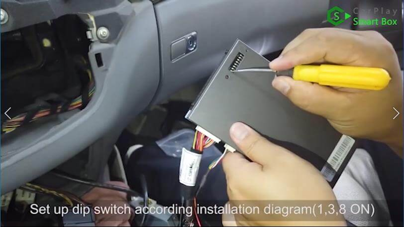 14. Set up dip switch according installation diagram (1, 3, 8 ON) - Step by Step Wireless Apple CarPlay Installation for Mercedes S class W221 - CarPlay