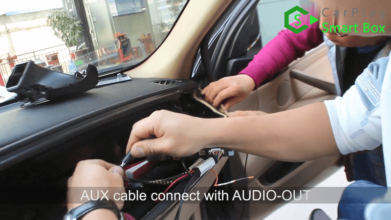 15.AUX cable connect with AUDIO-OUT.