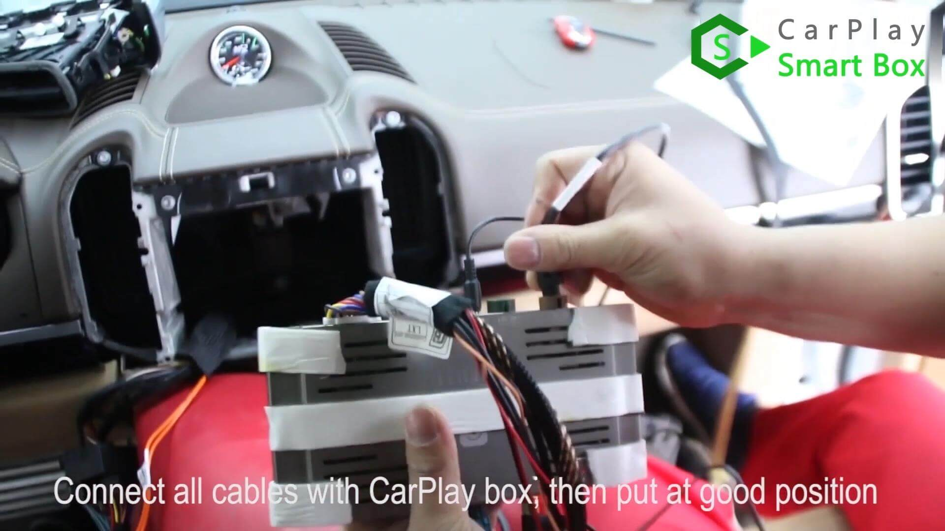 15. Connect all cables with CarPlay box, then put at good position -  Step by Step Retrofit Porsche Cayenne PCM3.1 WIFI Wireless Apple CarPlay - CarPlay Smart Box