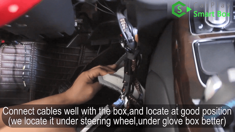 17.Connect cables well with the box, and locate at good position.(We locate it under steering wheel,under glove box better.)