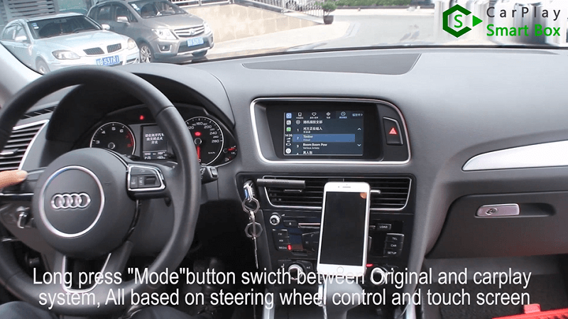 17.Long press ''Mode'' button switch between original and CarPlay system, all based on steering wheel control and touch screen.