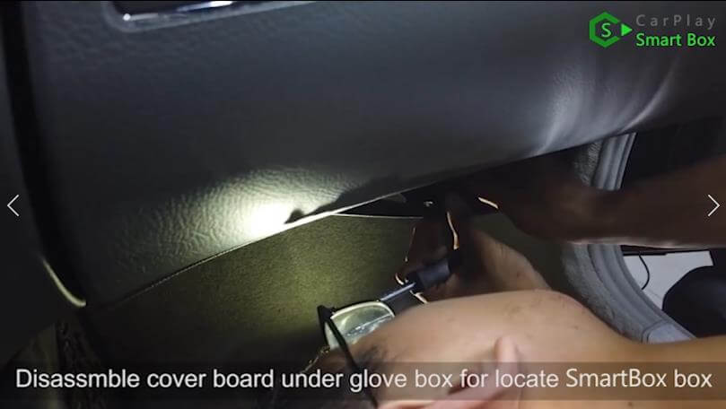 19. Disassemble cover board under glove box for locate SmartBox box - Step by Step Wireless Apple CarPlay Installation for Mercedes S class W221
