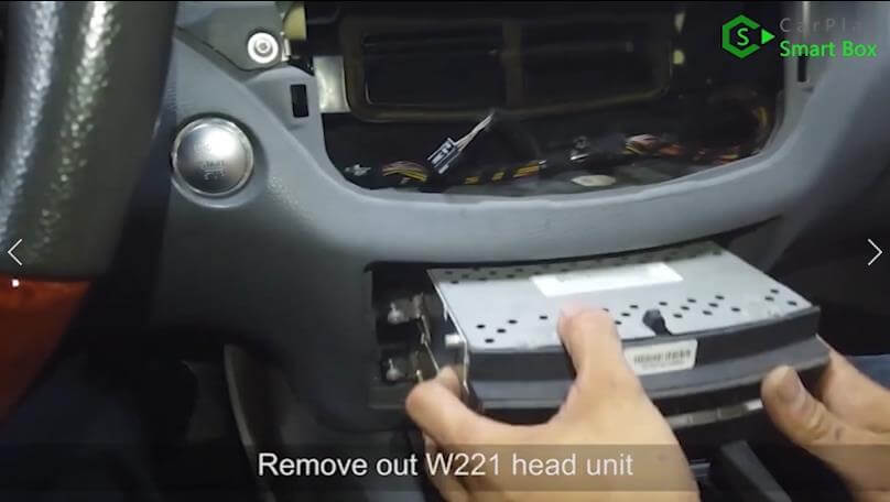 2. Remove out W221 head unit - Step by Step Wireless Apple CarPlay Installation for Mercedes S class W221 - CarPlay Smart Box