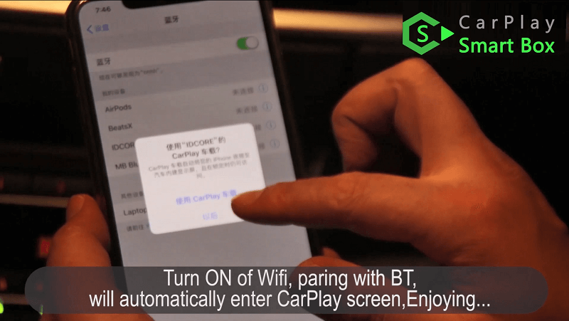 21.Turn on of Wifi, paring with bluetooth, will automatically enter CarPlay screen, enjoying.