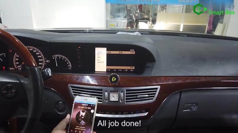 24. All job done - Step by Step Wireless Apple CarPlay Installation for Mercedes S class W221 - CarPlay Smart Box