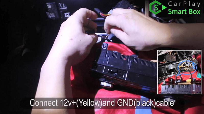 4.Connect 12v+(yellow) and GND(black) cable.