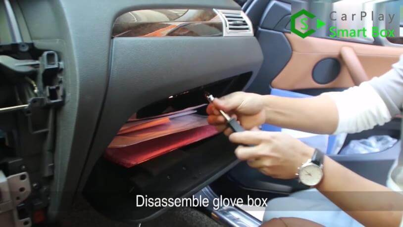 4. Disassemble glove box - Step by Step BMW X3 F25 X4 F26 NBT Wireless CarPlay Installation - CarPlay Smart Box