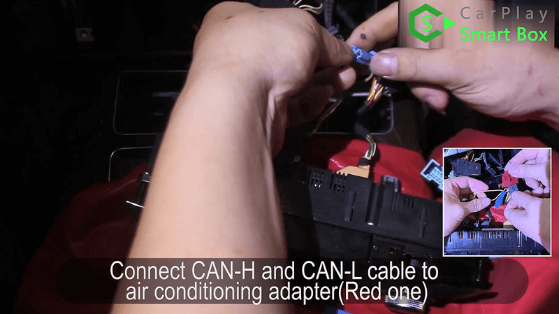 5.Connect CAN-H and CAN-L cable to air conditioning adapter(Red one).