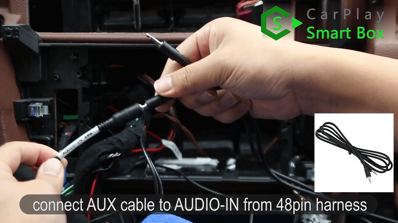 5.Connect AUX cable to AUDIO-IN from 48PIN harness.