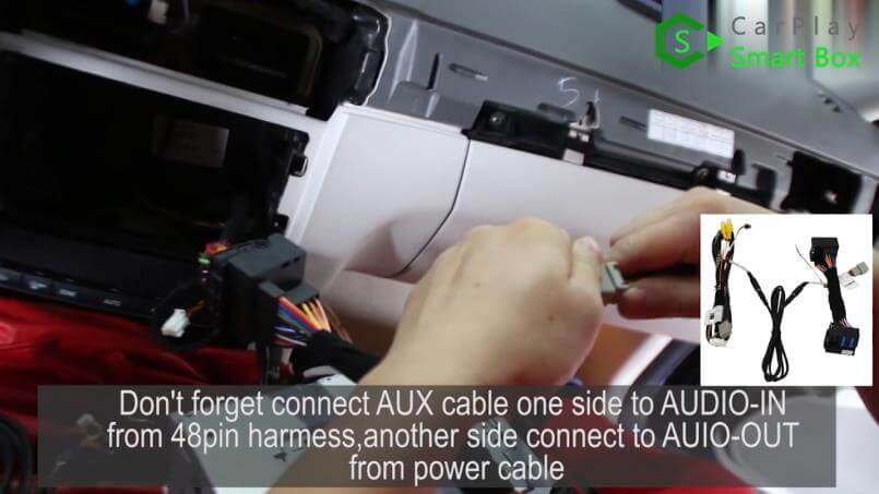 5. Don't forget to connect AUX cable - Step by Step Retrofit Mercedes E260 WiFi Apple CarPlay - CarPlay Smart Box