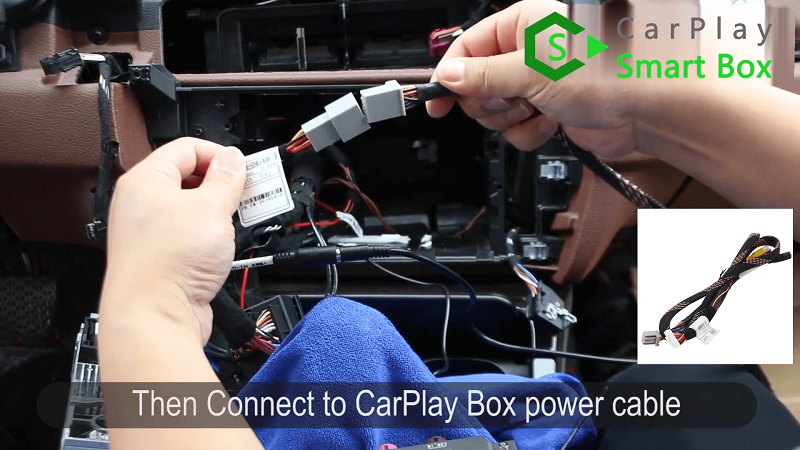 6.Then connect to CarPlay Box power cable.