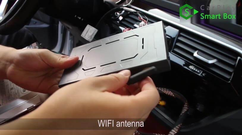 6. WiFi antenna - Step by Step Retrofit JoyeAuto wireless CarPlay on BMW 528Li G38 EVO Head Unit - CarPlay Smart Box