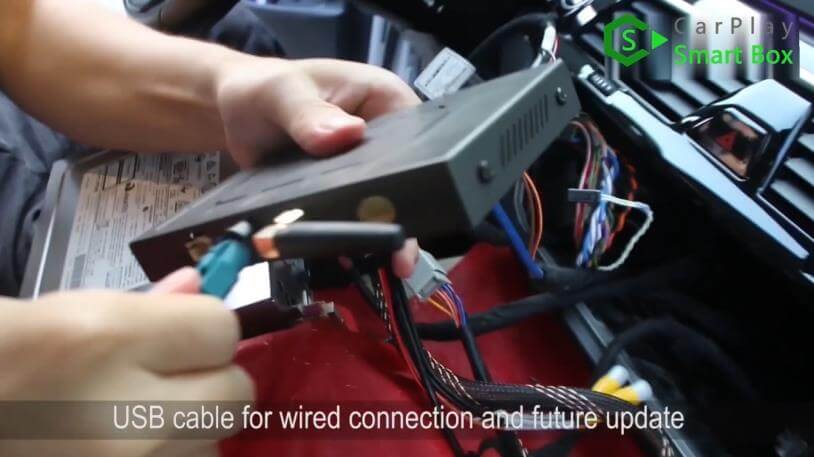 7. USB cable for wired connection and future update - Step by Step Retrofit JoyeAuto wireless CarPlay on BMW 528Li G38 EVO Head Unit - CarPlay Smart Box