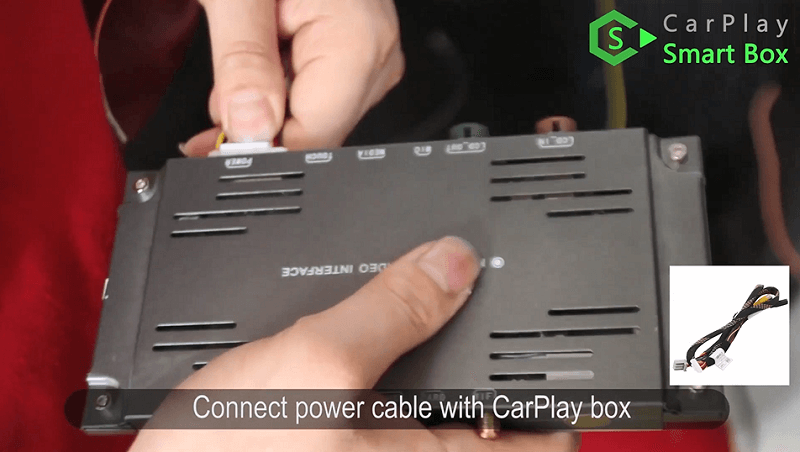 9.Connect power cable with CarPlay box.