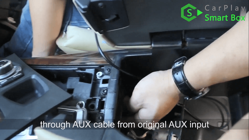 9.Through AUX cable from original AUX input.