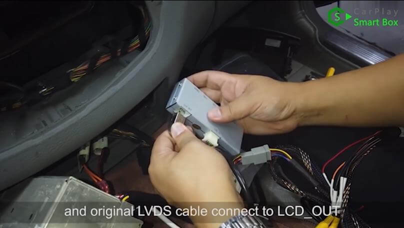 9. And original LVDS cable connect to LCD_OUT - Step by Step Wireless Apple CarPlay Installation for Mercedes S class W221 - CarPlay Smart Box
