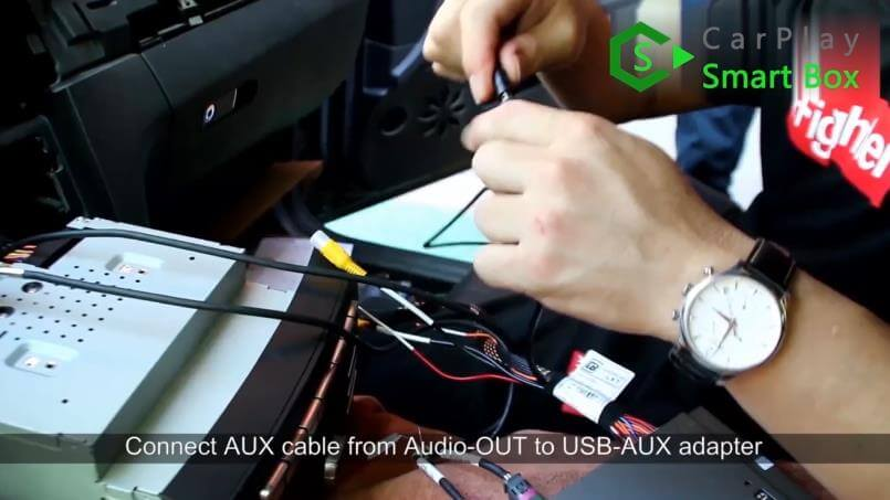 9. Connect AUX cable from AUDIO-OUT to USB-AUX adapter - Mercedes CLS 2015 NTG5.1 HU Wireless Apple CarPlay Installation - CarPlay Smart Box