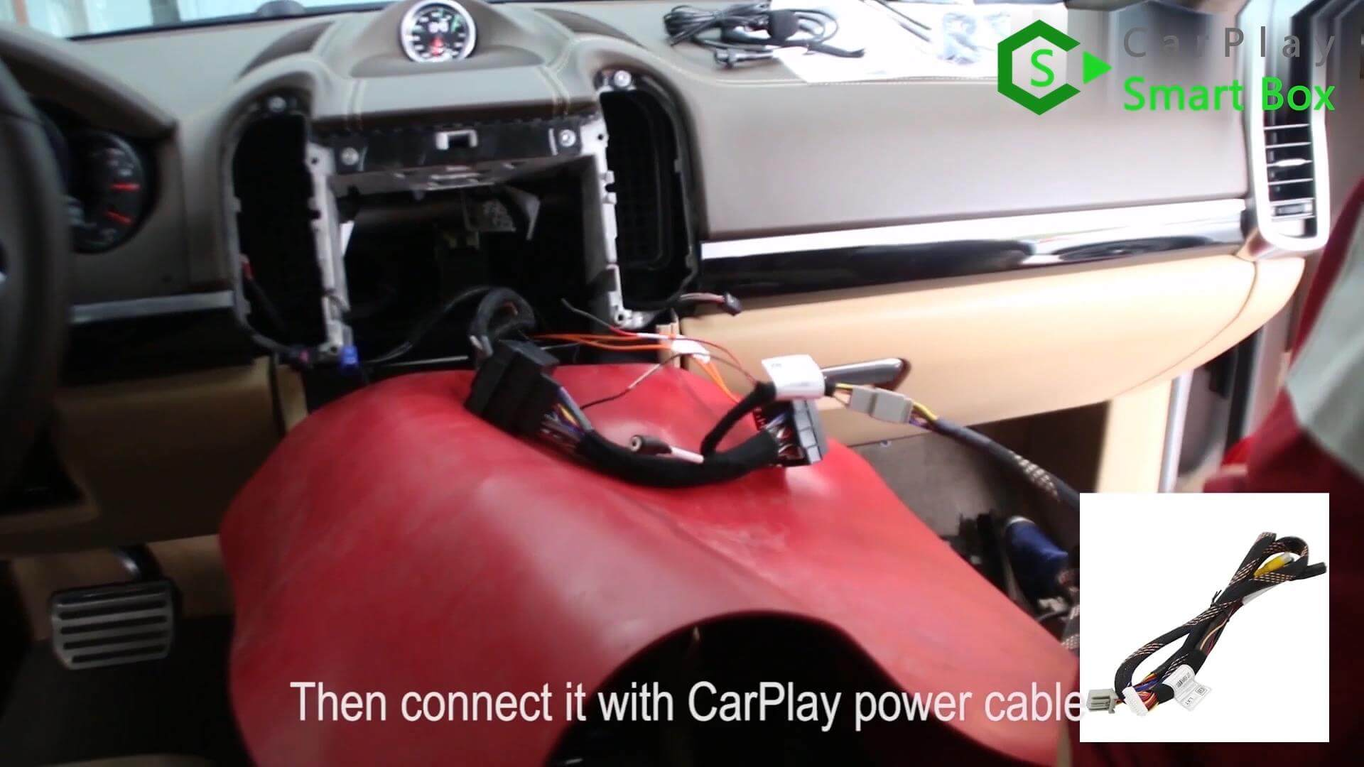 9. Then connect it with CarPlay power cable -  Step by Step Retrofit Porsche Cayenne PCM3.1 WIFI Wireless Apple CarPlay - CarPlay Smart Box