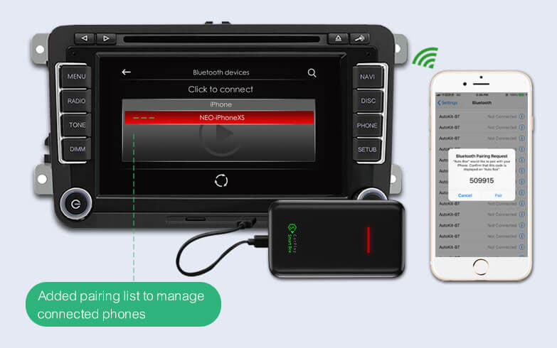 (CSB-X) Upgrade Wired CarPlay to Wireless Dongle Adapter - 2. When the mobile phone Bluetooth signal appears on the car, click on pairing.
