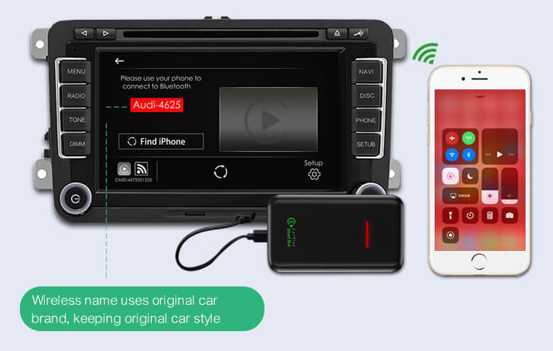 "(CSB-X) Upgrade Wired CarPlay to Wireless Dongle Adapter - 1. Connect the USB Dongle to the car head unit USB port, and click ""Find iPhone"", and turn on the mobile phone Bluetooth and WiFi;"