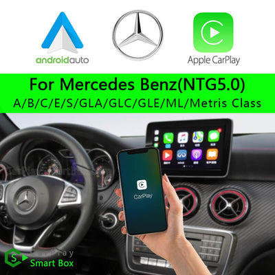 Mercedes Benz CSBME-1 (NTG5.0) A B C E  S GLA GLC GLE ML Metris Class-Wireless Apple CarPlay Android Auto Retrofit Upgrade Aftermarket Head Unit Adapter Smart Box