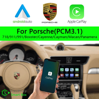 Porsche CSBPO-1 (PCM3.1) 718 911 991 Boxster Cayenne Cayman Macan Panamera-Wireless Apple CarPlay Android Auto Retrofit Upgrade Aftermarket Head Unit Adapter Smart Box
