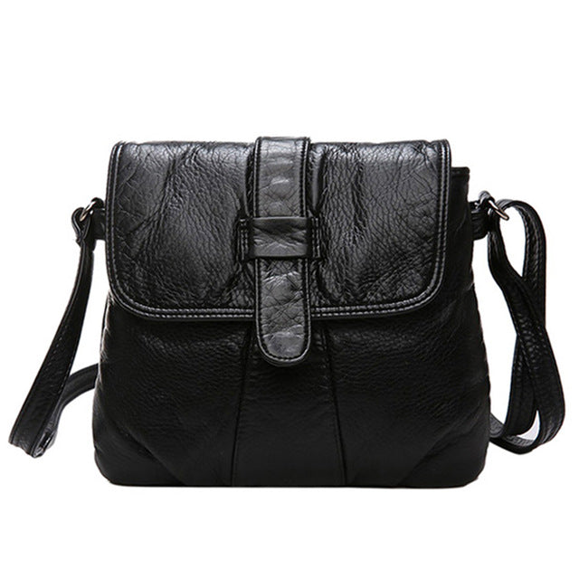 Black Small Women Soft Leather Bag