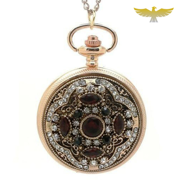Montre collier or et pierres