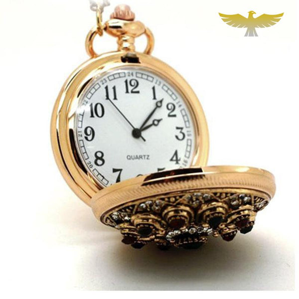Montre collier or et pierres - montre-de-poche-gousset