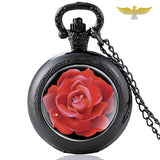 Montre collier rose rouge