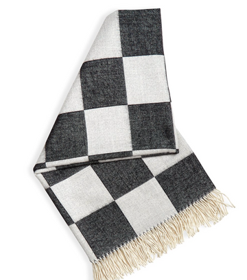 CHECKERBOARD BABY ALPACA THROW