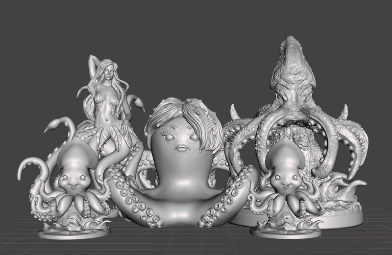 Meet The Krakens Complete Set 3d Printed Miniature Legends of Calindria