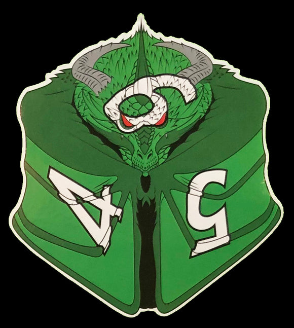 Cixthys the Green D6 Dragon Dice Vinyl Sticker