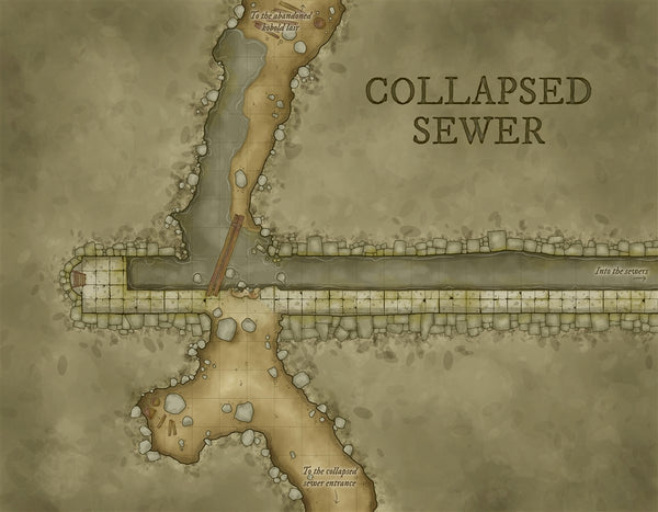 Collapsed Sewer Fantasy Map Gallery Canvas Art Print Daniels Maps