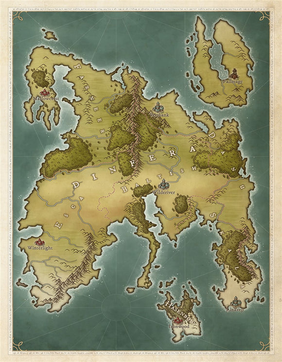 Dinfera Fantasy Map Gallery Canvas Art Print Daniels Maps