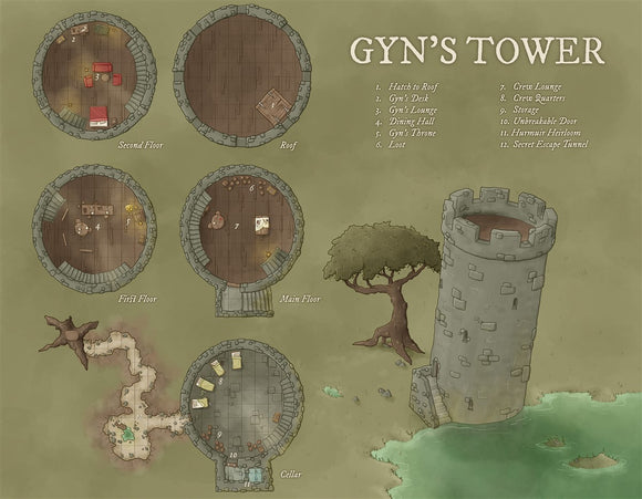 Gyn's Tower RPG Fantasy Map Gallery Canvas Daniels Maps