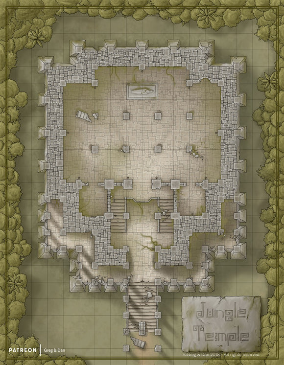 Jungle Temple RPG Fantasy Map Gallery Canvas Daniels Maps