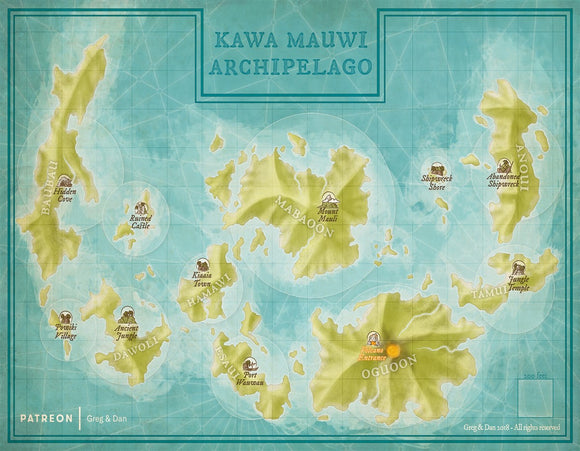 Kawa Mauwi Archipelago Fantasy Map Gallery Canvas Art Print Daniels Maps