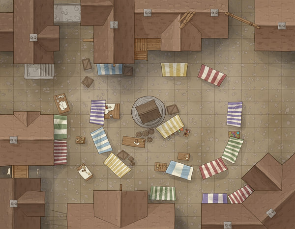 Market Square RPG Fantasy Map Gallery Canvas Daniels Maps