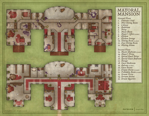 Mayoral Mansion RPG Fantasy Map Gallery Canvas Daniels Maps