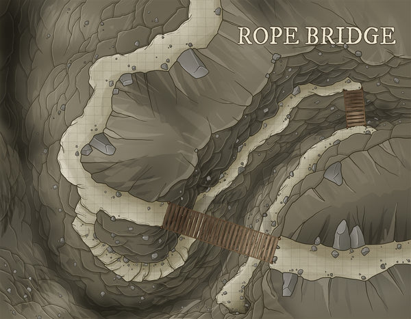 Rope Bridge Fantasy Map Gallery Canvas Art Print Daniels Maps